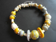 bijoux collier perles polymere jaune : Fantaisie