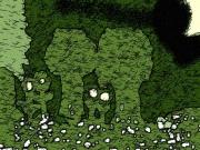 art numerique nature morte la nuit ,a la foret : Lorêt dans la nuit