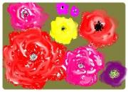 art numerique fleurs carte du fleures vertes : carte du fleures