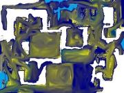 art numerique abstrait les chemains en or : Les chemain en or