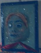 tableau abstrait crealuc abstrait visage femme : sable bleu