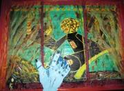 tableau abstrait voyageur abstrait collage : explorateur