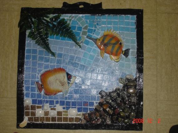 MIXTE poisson mosaique abstrait crealuc Nature morte  - aquarium