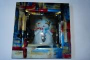 ceramique verre personnages neige noel assiette : assiette bonhomme de neige