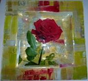 ceramique verre fleurs rose assiette cadeau : assiette rose rouge