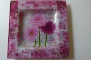 ceramique verre fleurs assiette fleurs rose peinture : assiette marguerite
