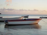 photo marine barque bateau mer : barque filet rouge