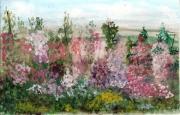 tableau fleurs rose tremiere : Roses Trémières