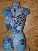 autres mosaique buste : Buste spirale bleue