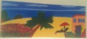 tableau paysages plage mer palmier : un été sur la plage