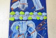 tableau abstrait collage argent bleu abstrait : Chemin en ciel
