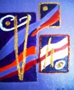 tableau abstrait peinture acrylique toile abstraite : Tous les trois