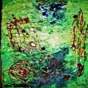 tableau abstrait abstrait collage papier acrylique : Abstrait vert