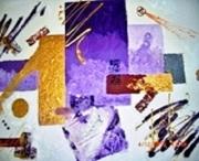 tableau abstrait violet abstrait huile toile : Briller