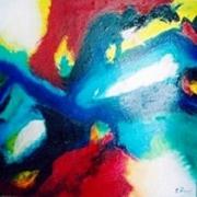 tableau abstrait rouge abstrait acrylique toile : Couleurs intensives