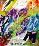 tableau abstrait peinture ,a l huile sur toile collage : Paradis