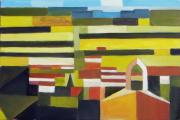 tableau paysages cubisme provence : La Fare les Oliviers