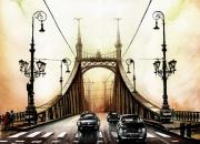 tableau architecture pont new york voiture urbain : Sur le pont