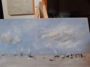tableau marine bleu plage marine : plage