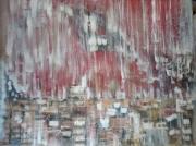 tableau abstrait rouge pluie carre : abtrait