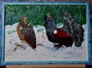 tableau scene de genre coq femelle montagne colere : Coq des bruyères