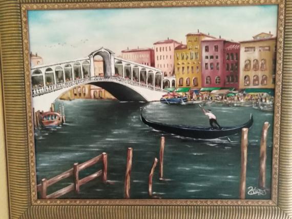 TABLEAU PEINTURE Venise gondole La cité des Doges italie Marine Peinture a l'huile  - Venise