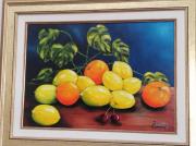 tableau fruits nature morte fruits citrons oranges : Corbeille d'agrumes