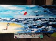 tableau marine mer tempete ballon rouge promenade : La petite fille au ballon