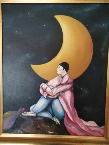 TABLEAU PEINTURE pierrot Clair de Lune La lune Scène de genre Peinture a l'huile  - Pierrot de la Lune