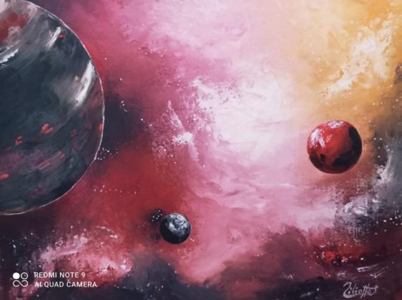 TABLEAU PEINTURE univers galaxie science-fiction imaginaire Scène de genre Peinture a l'huile  - Constellation d'Andromaque