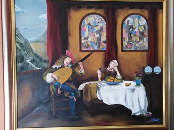 TABLEAU PEINTURE ménestrels musiciens moyen age auberge Scène de genre Peinture a l'huile  - Les Ménestrels