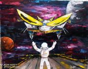 tableau scene de genre vaisseaux galaxie univers fiction : Atterrissage du vaisseau