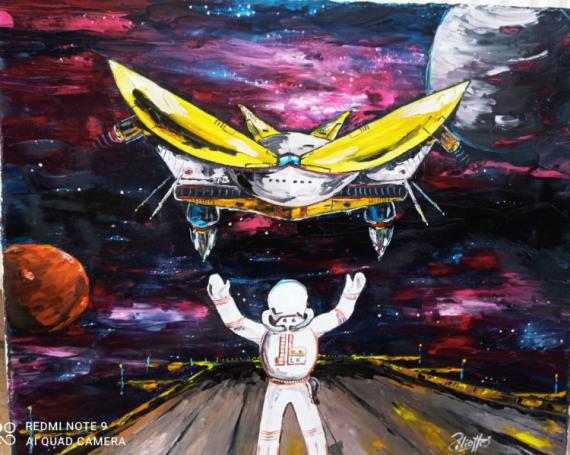 TABLEAU PEINTURE vaisseaux galaxie univers fiction Scène de genre Peinture a l'huile  - Atterrissage du vaisseau