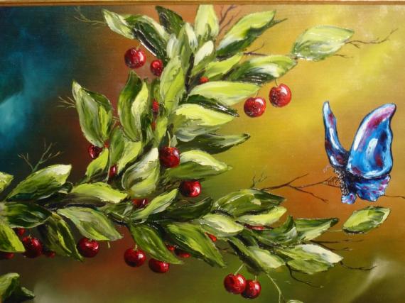 TABLEAU PEINTURE cerisier cerises papillon Animaux Peinture a l'huile  - Le papillon bleu