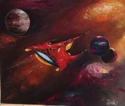tableau scene de genre univers vaisseau spatial fiction planetes : Voyageur