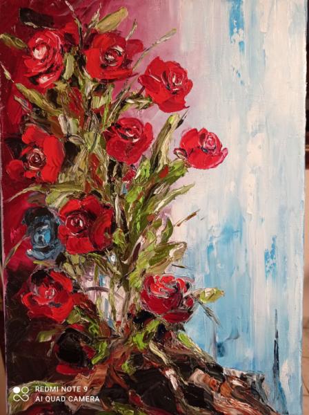 TABLEAU PEINTURE Bouquet fleurs composition florale roses Fleurs Peinture a l'huile  - Roses Sauvages