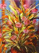 tableau fleurs bouquet fleurs composition florale : Ecarlate
