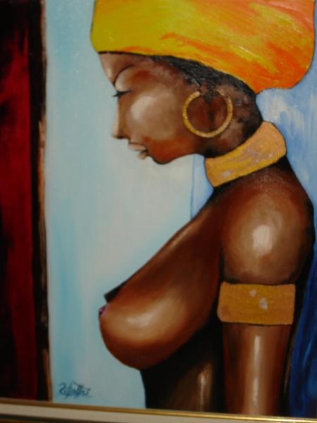 TABLEAU PEINTURE africaine afrique personnage Personnages Peinture a l'huile  - Mon Afrique Lointaine