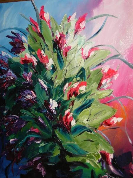 TABLEAU PEINTURE bouquet fleurs composition florale Fleurs Peinture a l'huile  - Bouquet