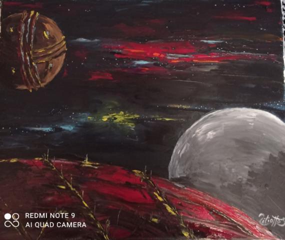 TABLEAU PEINTURE fiction imaginaire planetes univers Scène de genre Peinture a l'huile  - Un autre monde
