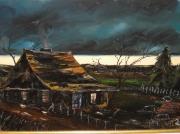 tableau paysages cabane aurore clairobscur lever du soleil : Aurore