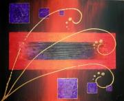 tableau abstrait design contemporain moderne noir : Lilium martagon