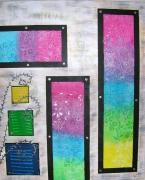 tableau abstrait fleur moderne relief colore : Florescence givrée