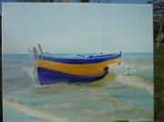 tableau marine eau bleu bateau : Flobart à Wissant