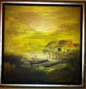 tableau paysages japon riziere estampe or : Japonisant ( Gold )