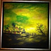 tableau paysages japon riziere or estampe : Japonisant ( Green )