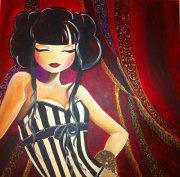 tableau personnages cabaret manga chinoise rouge : Chinese Cabaret