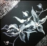 tableau fleurs fleur noir blanc lys : Noir et Blanc de Fleur 1
