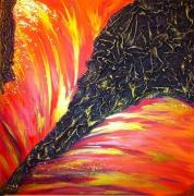 tableau abstrait abstrait orange violet or : Golden Fall