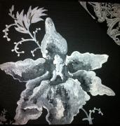 tableau fleurs noir blanc fleur orchidee : Noir et Blanc de Fleur 5